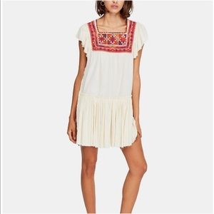 FREE PEOPLE Day Glow Mini Dress Embroidered Boho